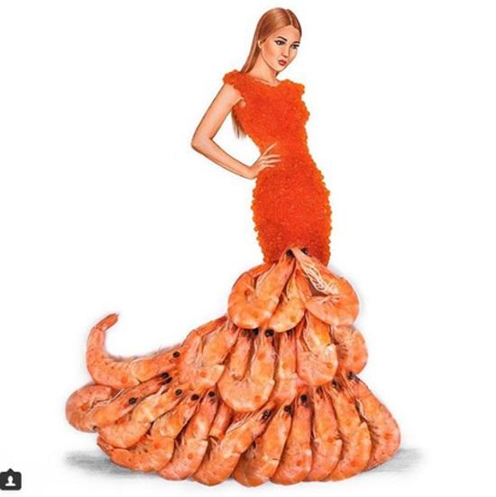 Rau, củ, hải sản bỗng chốc thành váy đẹp lung linh - page 2 - 8