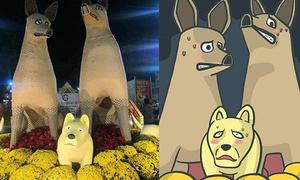 Chú chó mang bộ mặt 'hờn cả thế giới' tại đường hoa ngày Tết