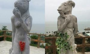 12 bức tượng khỏa thân được che bằng nho xanh, lá cây