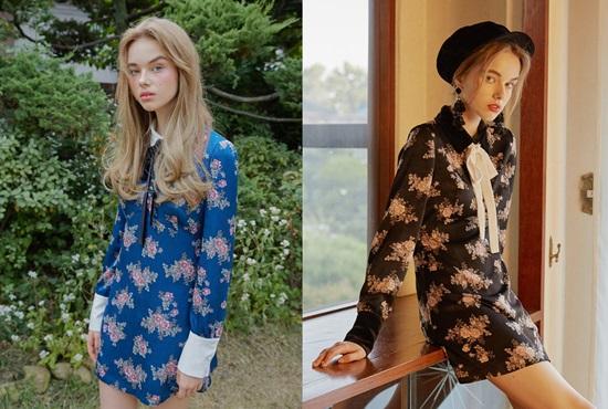 Mẫu váy với phom dáng đơn giản, họa tiết in hoa nhẹ nhàng này là item thời trang khiến các idol mê đắm. Chiếc váy phổ biến đến độ gần như các nhóm nhạc nữ đều có người từng mặc. Nó có giá 300 USD (khoảng 6,8 triệu đồng) và có hai màu xanh, đen.