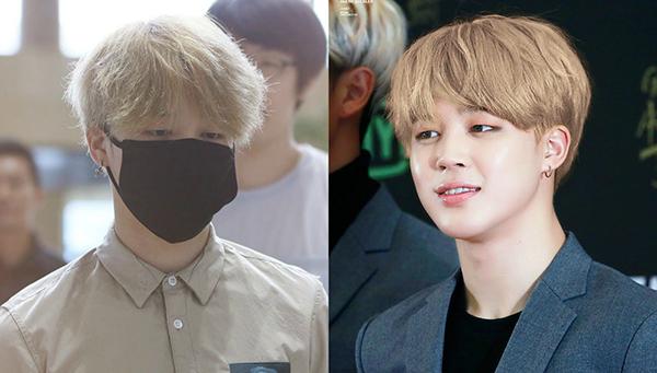 Khi ra sân bay, Ji Min (BTS) trông đầu bù tóc rối. Chỉ cần được tút tát chút ít, mái tóc của anh chàng lập tức vàng óng mượt mà.
