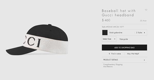 Điểm đặc biệt nhất của chiếc mũ là phần đáp vải bố in logo của Gucci. Tuy trông khá đơn giản nhưng giá của chiếc mũ này thì chẳng mềm mại tí nào. Phải chi đến 10,6 triệu đồng bạn mới có thể sắm một chiếc về.