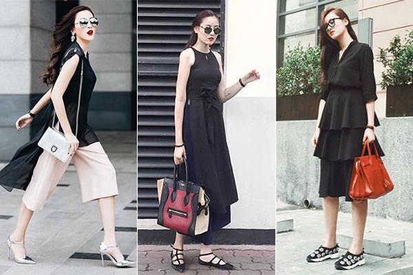 Kết hợp túi xách đúng mốt cùng những bộ đồ thiết kế màu sắc tối giản nhưng có cá tính, Hà Lade luôn trông rất sang chảnh. Ngoài ra, bộ sưu tập giày dép của cô nàng cũng rất đáng nể với cả chục đôi đủ kiểu dáng đến từ nhiều thương hiệu cao cấp.
