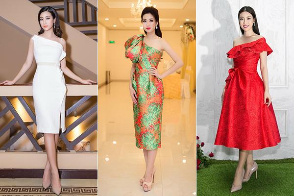 Kể cả khi diện những bộ váy cocktail nhẹ nhàng, Mỹ Linh vẫn tôn sùng dáng lệch vai để trang phục có điểm nhấn mà không gợi cảm quá đà.