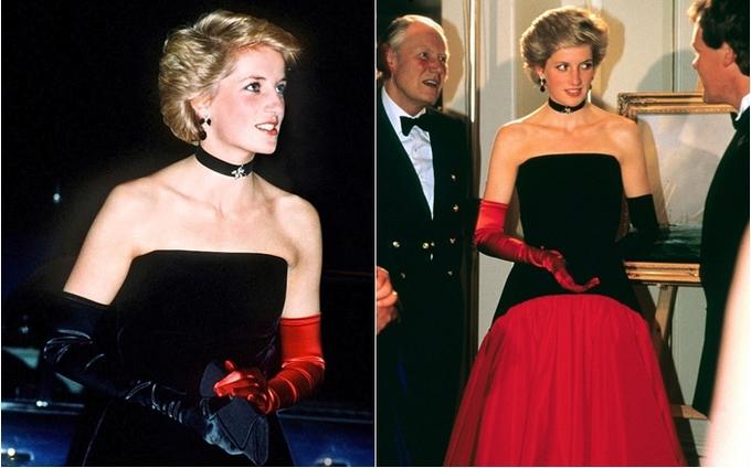 <p> Tháng 9/1986, Công nương mặc một chiếc đầm dạ hội màu đỏ đen mang hơi hướng flamenco của NTK Murray Arbeid tại sự kiện America's Cup Ball được tổ chức ở khách sạn Grosvenor House.</p>