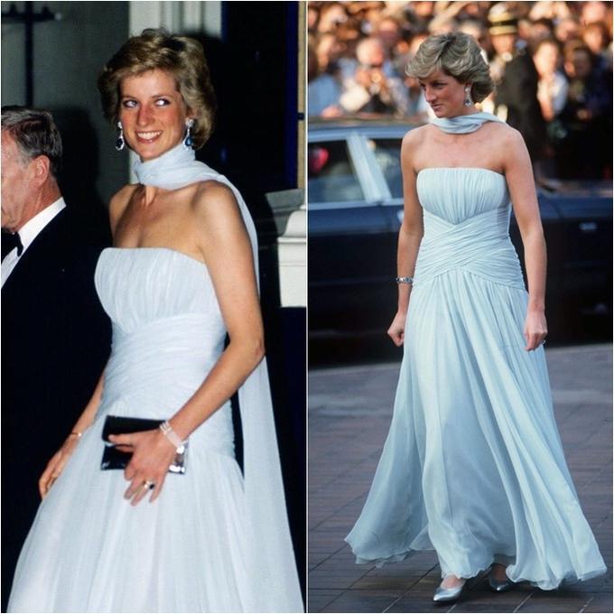 <p> Bông hồng nước Anh chọn một chiếc váy lụa chiffon màu xanh pastel của Catherine Walker để tham dự Liên hoan phim Cannes ngày 15/5/1987.</p>