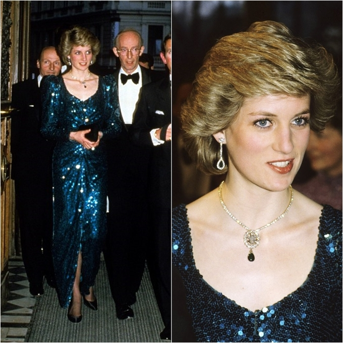 """<p> Bộ đầm sequin với tên gọi """"mermaid dress"""" của NTK ruột Catherine Walker được Công nương Diana mặc trong một sự kiện ở Vienna vào ngày 14/4/1986. Đây cũng là một trong những bộ đầm bất hủ đã trở thành nguồn cảm hứng cho làng thời trang thế giới nhiều năm về sau.</p>"""