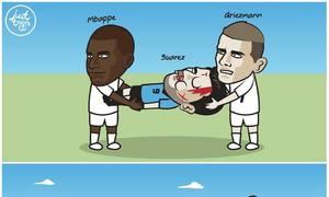Dâng bàn thắng tận miệng 'Gà Trống', thủ môn Uruguay bị chế ảnh