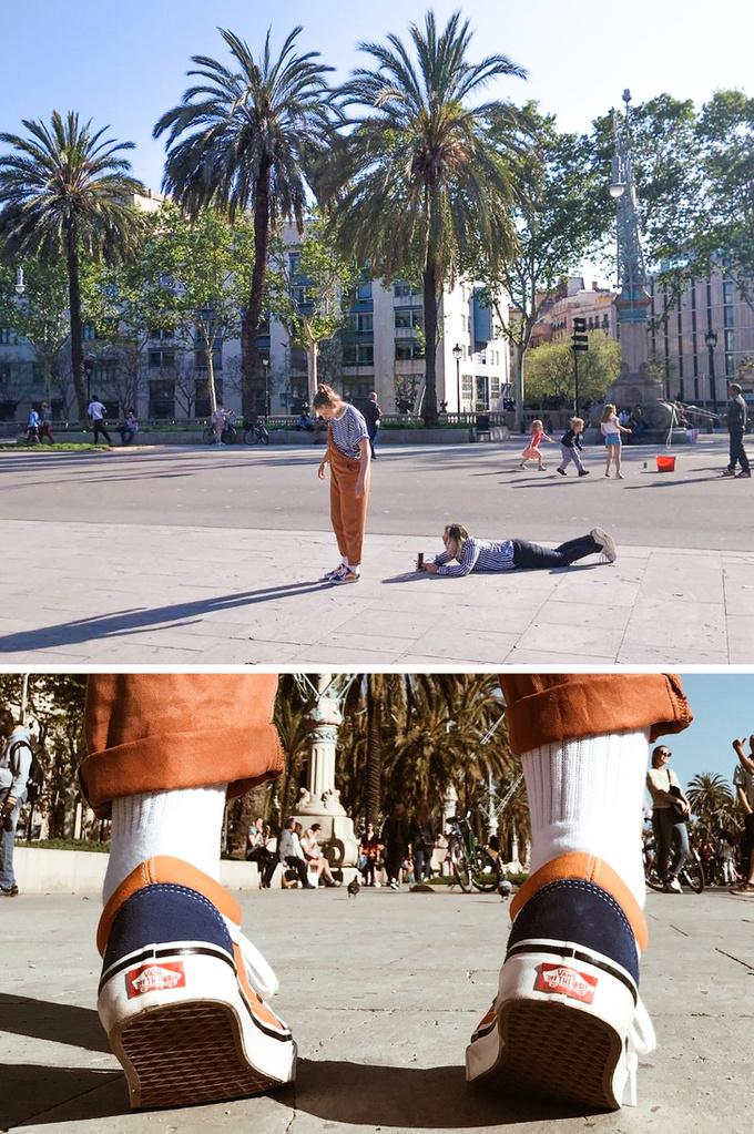 <p> Kiểu chụp ảnh khoe giày cực tốn công.</p>