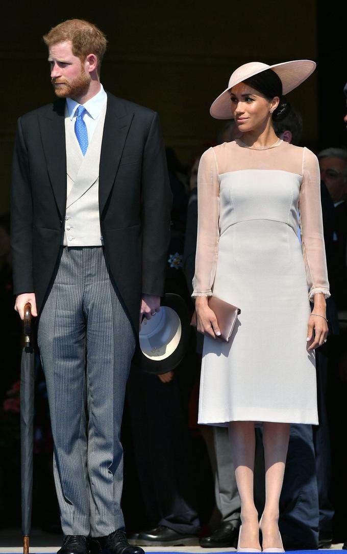 <p> Vài ngày sau lễ cưới tại Nhà thờ Thánh Geogre, Công nương Meghan đã tham dự tiệc sinh nhật lần thứ 70 của Hoàng tử xứ Wales trong một chiếc váy màu hồng nhạt của Goat, với tay áo xuyên thấu và mũ rộng vành.</p>