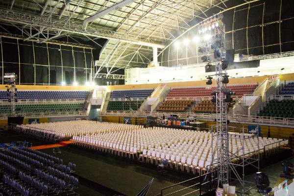 Khu vực nhà thi đấu Phú Thọ sẵn sàng.