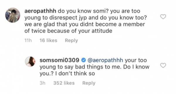 Somi phản bác lại bình luận chỉ trích trên trang cá nhân.