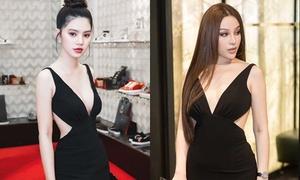 Jolie Nguyễn, Huyền Baby 'một chín, một mười' khi mặc chung váy