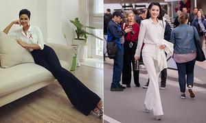 H'Hen Niê - Nhã Phương dùng chung một chiêu để 'chân dài như photoshop'