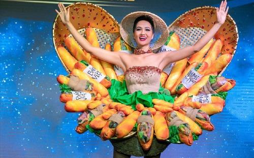 Việc HHen Niê lựa chọn bộ trang phục có tên Bánh mì để dự thi Hoa hậu Hoàn vũ Thế giới sắp tới gây nhiều tranh cãi. Một số quan điểm cho rằng, chọn bánh mì để quảng bá văn hóa ẩm thực lâu đời của người Việt là không hợp lý vì Việt Nam không trồng ra cây lúa mì. Thậm chí, Hoa hậu Thu Hoài cũng phải thốt lên: Bánh mì không bao giờ có thể đại diện cho nền văn hóa Việt và càng xa xỉ hơn nếu đặt cho nó cái tên quốc phục. Nó chỉ đơn giản là một sáng tạo có phần độc đáo, lạ lùng.