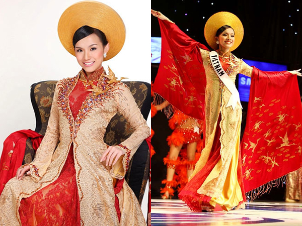 Nguyễn Thùy Lâm đi thi Miss Universe 2008 với bộ quốc phục theo kiểu dáng áo dài của Nam Phương Hoàng hậu được thiết kế bởi Thuận Việt. Bộ áo dài được tỉ mỉ trang trí hơn 7.500 viên pha lê nhập khẩu từ Áo cùng 500 viên ngọc trai. Trên thân hai con hạc thêu bằng chỉ dát vàng cũng được tô điểm bởi những hạt kim cương lấp lánh.