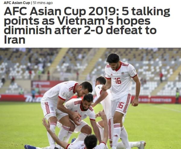 Tờ Fox Sports Asia đăng tải bài viết sau trận đấu trận Việt Nam - Iran.