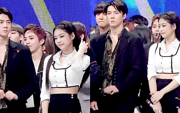 Chỉ một khoảnh khắc đứng cạnh nhau, Se Hun - Jennie đã gây sốt vì quá đẹp đôi. Cả hai đều có hình thể chuẩn, khí chất sang chảnh. Hai ngôi sao nhà SM - YG đều là những idol được thương hiệu quốc tế ưu ái, liên tục xuất hiện ở các tuần lễ thời trang.