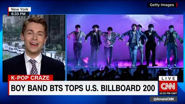 BTS được các kênh truyền hình Mỹ (CNN, ABC, CBS...) nhắc đến thường xuyên.