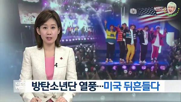 Các kênh tại Hàn Quốc như SBS, KBS, MBC... cũng theo sát các hoạt động, thành tích mà BTS đạt được.