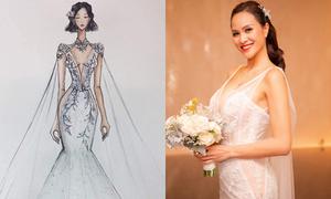 3 bộ váy cưới đắt đỏ của Phương Mai: Từ bản vẽ đến thực tế