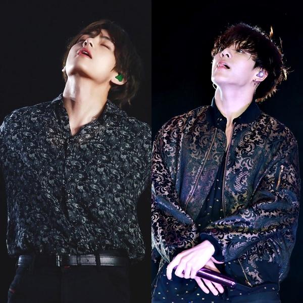 Bộ đôi cùng để tóc xoăn nhuộm màu tối và cùng mặc những trang phục được thiết kế đồng bộ. Sự tương đồng về chiều cao cũng là một yếu tố dễ gây nhầm lẫn cho fan khi V - Jung Kook đứng trên sân khấu.