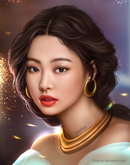 Jennie phù hợp với nàng công chúa mạnh mẽ, quyến rũ Jasmine trong câu chuyện Aladdine và Cây đèn thần. Thành viên Black Pink cực hợp với làn da ngăm và cách trang điểm đậm, sắc sảo của công chúa Jasmine.