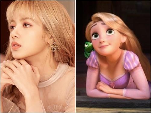 Lisa tóc vàng rất hợp với hình tượng nàng Công chúa tóc mây trong phim hoạt hình.