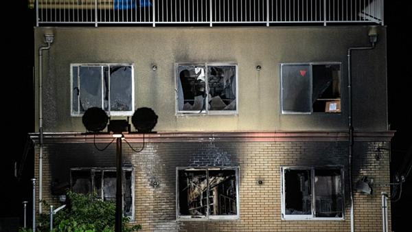 Hiện trường vụ hỏa hoạn tại xưởng phim Nhật Bản.