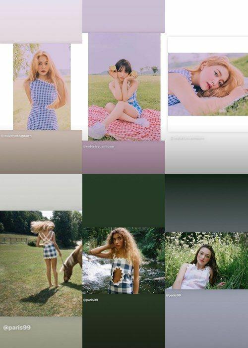 Nhà thiết kế Paris 99 so sánh những thiết kếdo Red Velvet mặc và bản gốc lên Instagram Story.