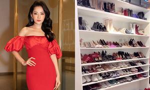 Phòng chứa đồ hiệu chật kín giày dép, quần áo của Chi Pu