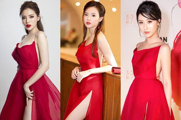 Hoa hậu mặc đầm dây của NTK Trần Hùng sexy hơn hẳn Midu, Quỳnh Anh Shyn.