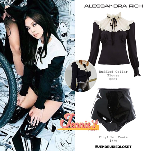 Set đồ của Jennie bao gồm áo cổ bèo của Alessandra Rich có giá 807 USD (18,6 triệu VNĐ) và quần giá 770 USD (17,8 triệu VNĐ).