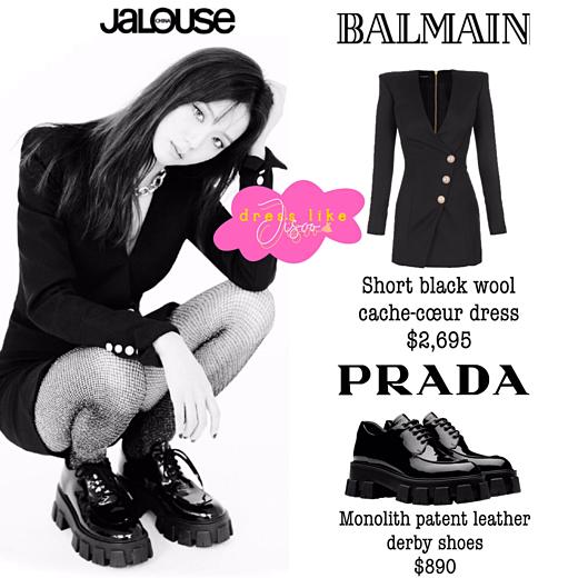 Ji Soo diện nguyên cây đen bao gồm váy Balmain giá 2.695 USD (khoảng 62 triệu VNĐ) và giày Prada 890 USD (khoảng gần 21triệu VNĐ).