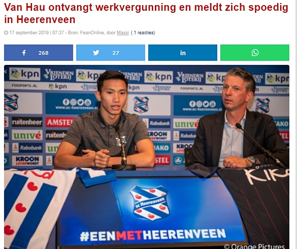Báo Fean Online đưa tin về việc Văn Hậu trở lại Hà Lan hội quân với đội bóng.