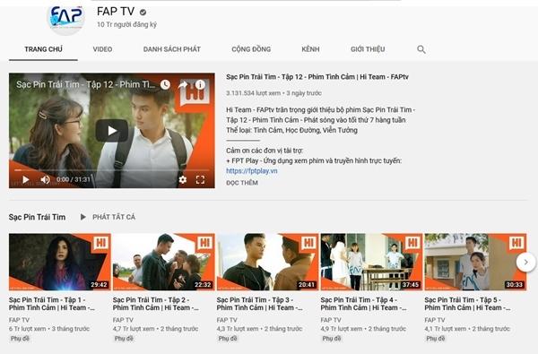 Giao diện kênh Youtube của nhóm hài FAPTV.