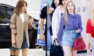 Sao Hàn mốt đeo túi 'hình cái xô' giá xa xỉ
