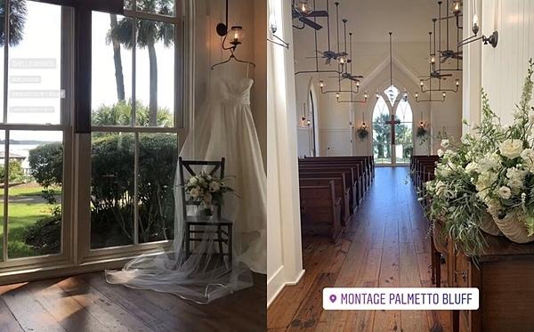 Hình ảnh rò rỉ tại nhà nguyện thuộc khu resort Montage Palmetto Bluff. Nhà thiết kế lễ cưới củan Justin Bieber là Mindy Weiss, người từng có các khách hàng nổi tiếng trước đây như Kim Kardashians, Ellen DeGeneres, Heidi Klum...