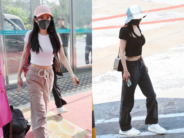 Bà mẹ một con khác là Dương Mịch cũng hướng đến style khoe eo ở sân bay. Ở tuổi 33, nữ diễn viên vẫn giữ được sắc vóc cuốn hút như thuở son rỗi.