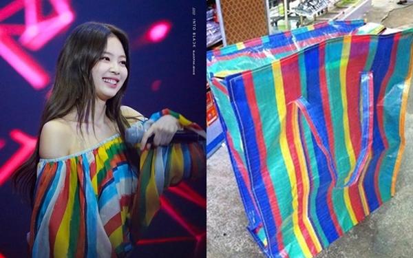 Chiếc áo quá lòe loẹt này khiến Jennie đánh mấtsang chảnh vốn có. Thậm chí nhiều netizen còn thấy mẫu áo này rất giống chiếc túiđựng hàng.