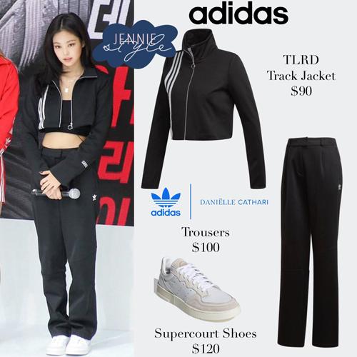Cả hai item mà Jennie, Rosé diện đều được biến tấu từ track jacket của Adidas.