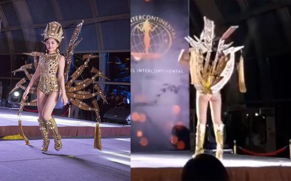 Lê Âu Ngân Anh là đại diện Việt Nam tại cuộc thi Miss Intercontinental 2019 diễn ra đầu năm nay. Trong phần thi trang phục dân tộc, cô mặc bộ đồ lấy cảm hứng từ mẹ Âu Cơ, kết hợp bodysuit bó sát, phụ kiện gắn 10 cánh chim lạc phía sau lưng. Phần thể hiện của Ngân Anh không được đánh giá cao vì cô mắc một số lỗi khi catwalk. Bên cạnh đó, trang phục quá ngắn cũng khiến cô bị lộ vòng ba khi xoay người về phía khán giả.